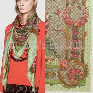 GUCCI beige GG CrossStitch FLOWER VASE modal SHAWL